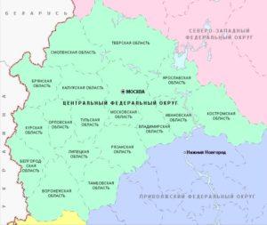 Центральный федеральный округ схема