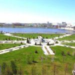 Вид с воздуха на парк тысячелетия Казани